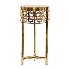 Журнальный стол круглый, коричневое стекло и сталь