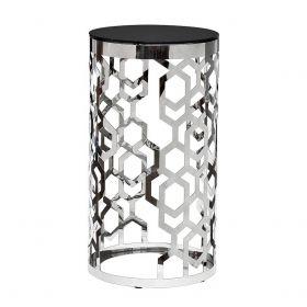 Высокий журнальный столик (сталь и стекло)