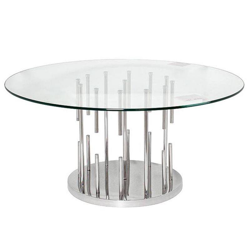 Стол журнальный круглый, стекло и хромированная сталь