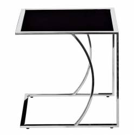 Стол журнальный приставной, черное стекло и сталь
