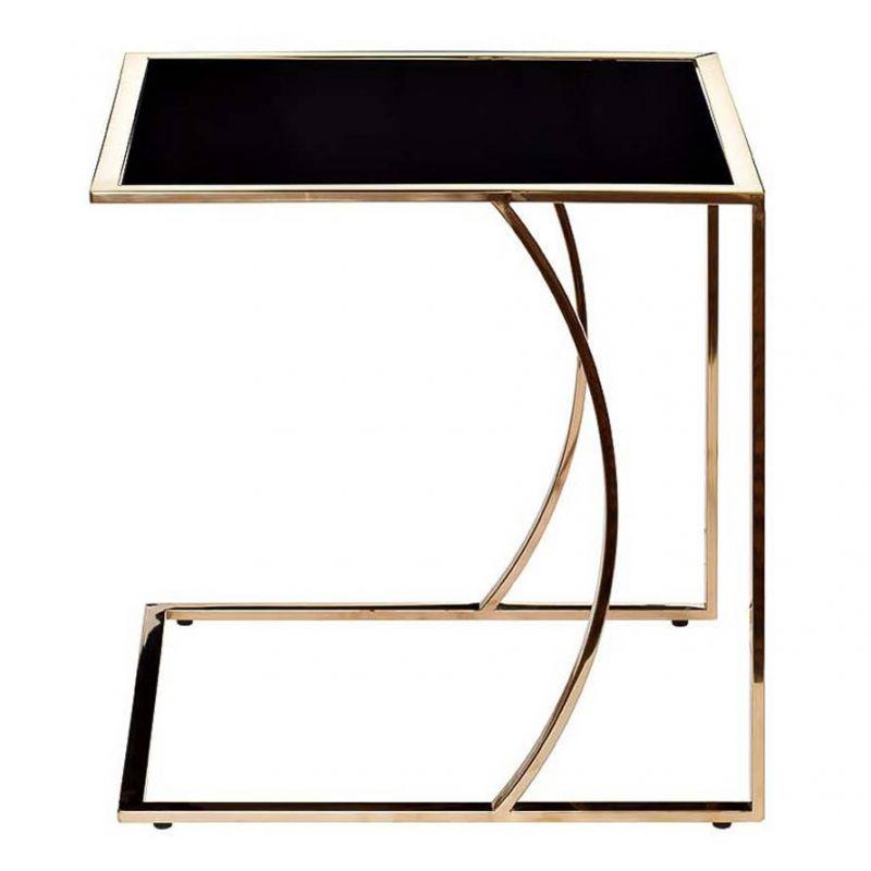 Стол журнальный приставной, сталь и закаленное стекло
