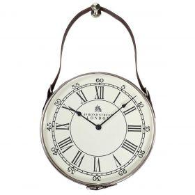 Часы настенные круглые на кожаном подвесе