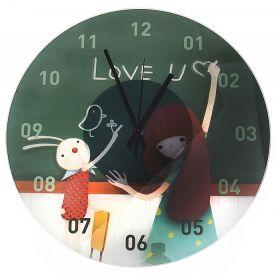 """Часы настенные """"Зайка и девочка у доски"""""""