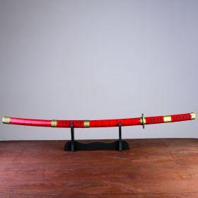 Катана сувенирная, на подставке, дерево, красные ножны, черная полоска, вставка с обмоткой