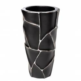 Кашпо черное с серебром