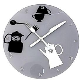 Часы настенные круглые, стрелки в виде ножа-вилки
