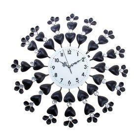 Часы настенные серия Ажур, объемные сердца с цветочками