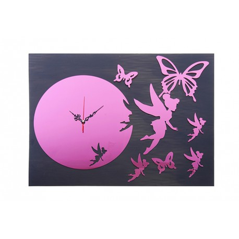 """Часы наклейка, """"Феи Бабочки в полете"""", розовый"""