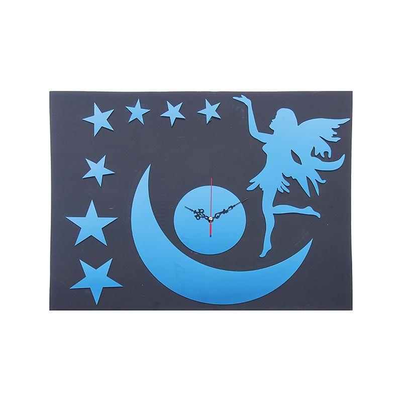 """Часы наклейка, """"Месяц со звездами"""", синий"""