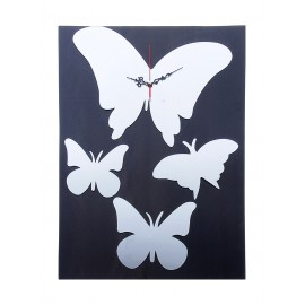 "Часы наклейка, ""Бабочки"", хром"