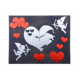 """Часы наклейка, """"Сердца красные с купидончиками"""" хром"""