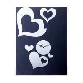 """Часы наклейка, """"Большие сердца"""", хром"""