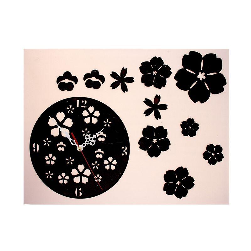 Часы-наклейка, Цветочки, многоразового использования, черный хром