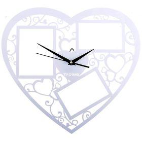 Часы настенные сердце 3 вставки фоторамки, ажур белые