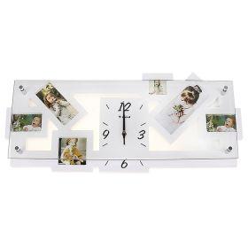 Часы настенные прямоугольные, 6 вставок фоторамки белые