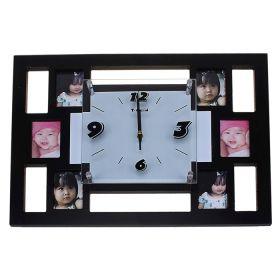 Часы настенные прямоугольные 6 вставок фоторамки квадраты мини черные