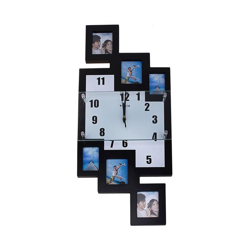 Часы настенные хайтек 6 вставок фоторамки прямоугольники черные