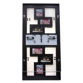 Часы настенные прямоугольные, 6 вставок фоторамки прямоугольники, мини, черные
