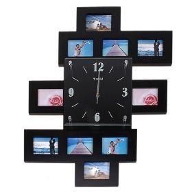Часы настенные хайтек 10 вставок фоторамки прямоугольные черные
