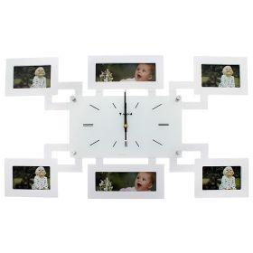 Часы настенные хайтек, 6 фоторамок, прямоугольные, белые