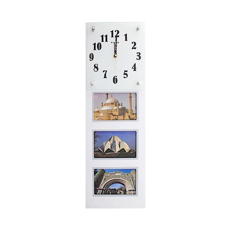 Часы настенные хайтек, 3 фоторамки под часами, белые