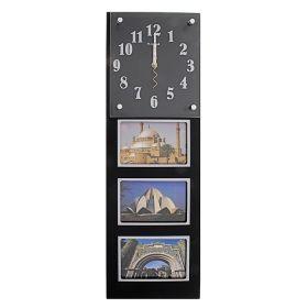 Часы настенные хайтек, 3 фоторамки под часами, черные