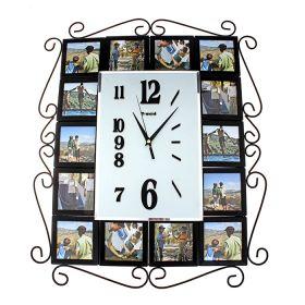 Часы настенные хайтек, 14 фоторамок по бокам, черные