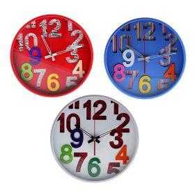 Часы настенные круг, на циферблате вырезаны цифры, тонкая рама, МИКС