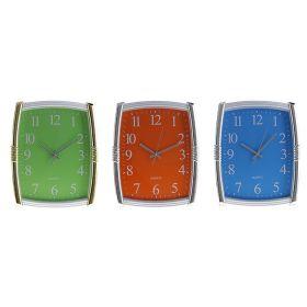 Часы настенные прямоугольные, яркий циферблат рама хром, МИКС