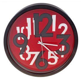 Часы настенные рамка черная, разноцветные цифры
