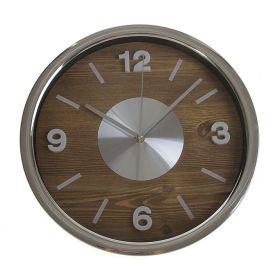 Часы настенные циферблат под дерево внутри круг с металлической вставкой