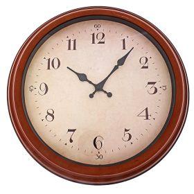 Часы настенные круглые, циферблат бежевый, кант под дерево