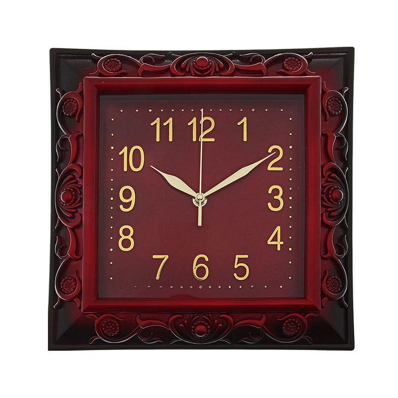 Часы настенные квадратные объемный узор на раме бордо