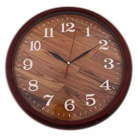 Часы настенные круглые коричневая рама, циферблат под паркет
