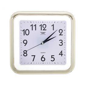 Часы настенные квадрат, прозрачные кант золото