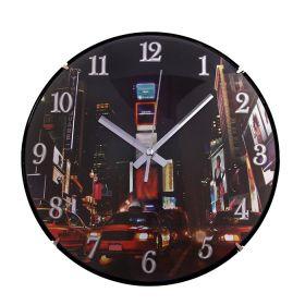 """Часы настенные серия """"Объем"""" круг, на циферблате Ночная жизнь"""
