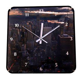 "Часы настенные серия ""Объем"" квадрат, на циферблате Панорама Сити"