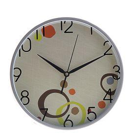"""Часы настенные круг, рама хром, на циферблате """"Кружки цветные"""""""