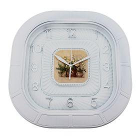 Часы настенные квадратные белые, цифры-серебро, вставка цветы на циферблате