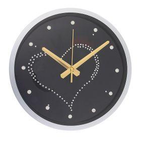 "Часы настенные серия""Кристалл"" круг, рама хром, на циферблате Сердце из страз, стразы-цифры"