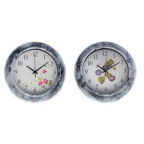 Часы настенные круглые рама мод мрамор Цветы