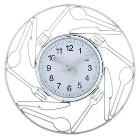 Часы настенные круглые столовые приборы стрелки нож с вилкой