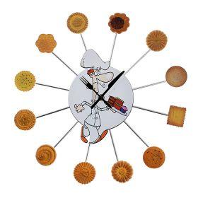 Часы настенные круг, на лучиках ассорти печенья, Повар