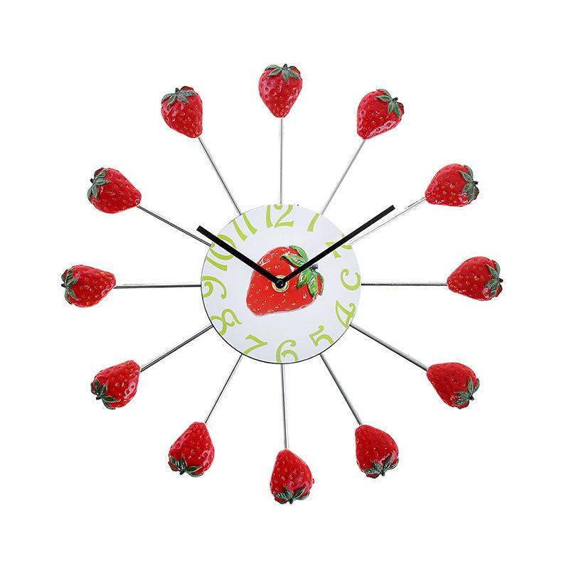 Часы настенные круг, на лучиках Клубника