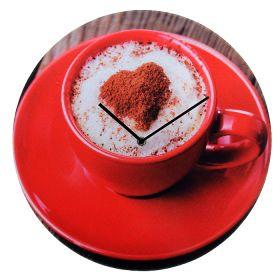 """Часы настенные серии фетр """"Чашка кофе с пенкой и корицей-сердечком"""""""