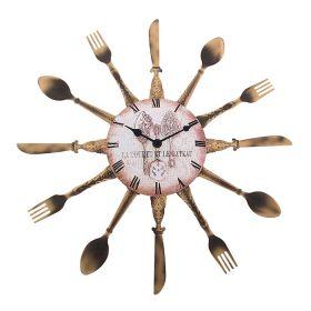 Часы настенные круглые в обрамлении вилки/ножи/ложки, бронза