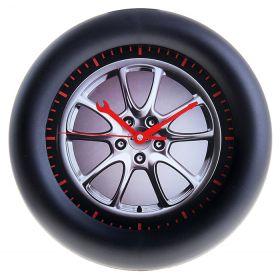 """Часы настенные круг рама черная, циферблат """"Автомобильный диск"""""""
