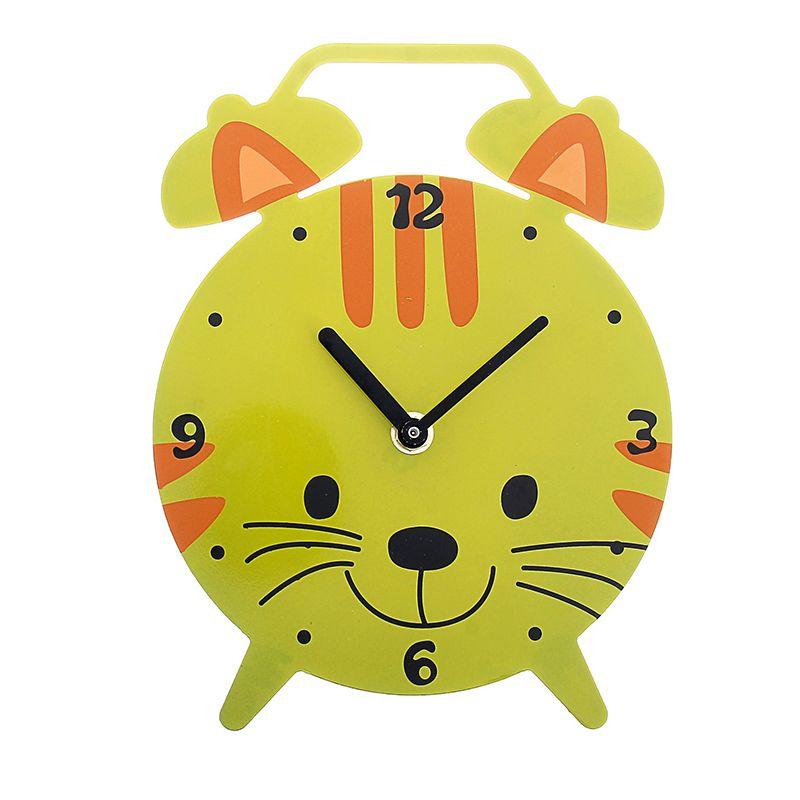 """Часы настенные в виде будильника """"Киска"""", подставка"""