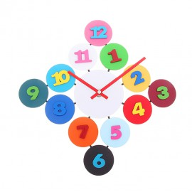Часы настенные ромб из разноцветных кружков