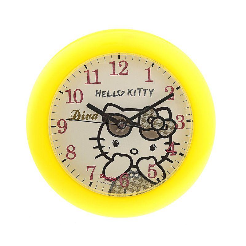 Часы настенные детские 41257 круглые желтые Hello Kitty